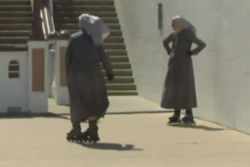 wgntv.com: Nuns Rollerblade in Full Wardrobe Through Texas Streets