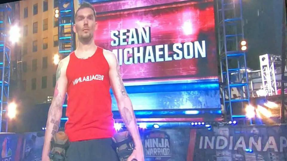 Sean Michaelson with his skates on American Ninja Warrior