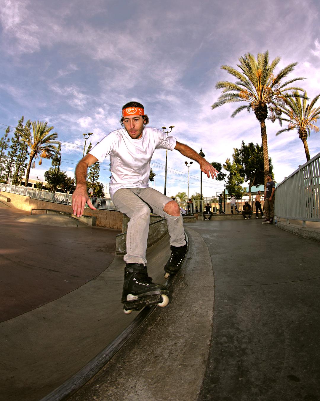 Matt lacing a soul grind at the skatepark.