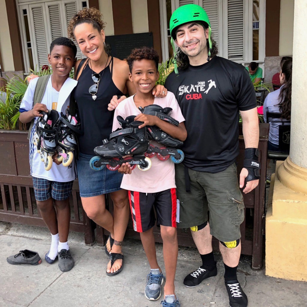 Here, two brothers, running alongside our skate marathon, were gifted skates by Michelle and Michael. They jumped off the curb and skated around the closed streets. A little wobbly at first, they were working on t-stops before we could blink twice